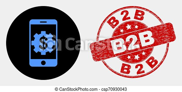 Vector Mobile Bank Settings Icon And Distress B2b Stamp Seal Rounded Mobile Bank Settings Icon And B2b Seal Stamp Red