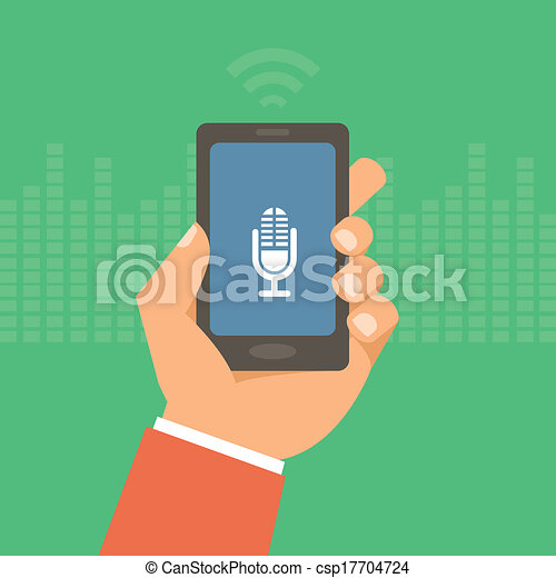 Vector mobile phone in flat style - voice control - csp17704724