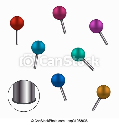 Vector modern colorful pins set on white  - csp31268036