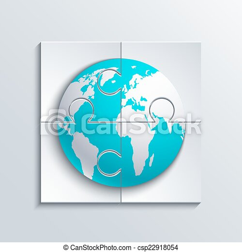 Vector modern concept puzzle and world. - csp22918054