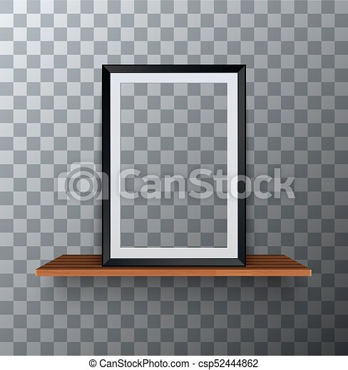 Vector Modern Empty Frame Standing On A Wooden Shelf