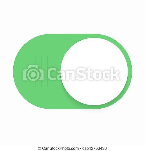Vector modern green slider button on white background. - csp42753430