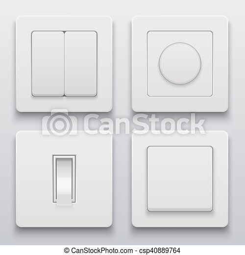 Vector Modern Light Switch Icons Set