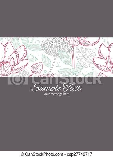 Vector modern line art florals stripe frame vertical card invitation template - csp27742717