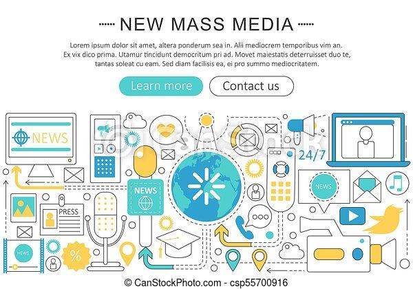 Vector modern line flat design News mass media concept. News mass media icons Website Header, app design poster banner. - csp55700916