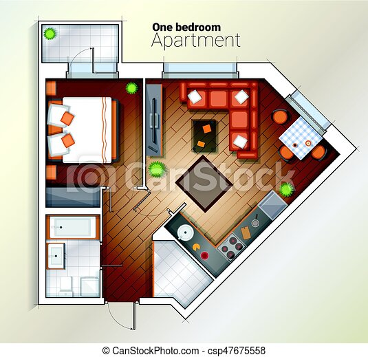 Vector Modern One Bedroom Apartment Top View Illustration Vector Top View Color Architectural Floor Plan Of One Bedroom Canstock