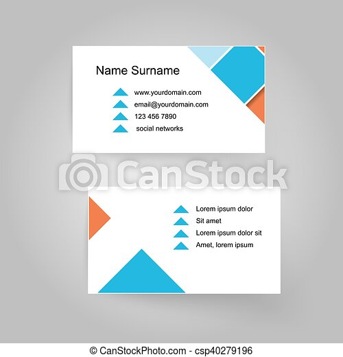 Vector modern simple business card template blue and orange with vector modern simple business card template blue and orange with white flashek Gallery
