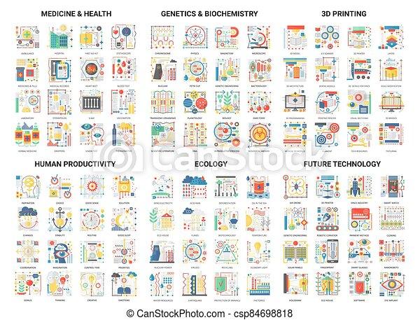 vector, moderno, delgado, plano, innovación, impresión, humano, resumen, ilustración, diseño determinado, genética, productividad, iconos, medicina, bioquímica, 3d, colores, línea - csp84698818