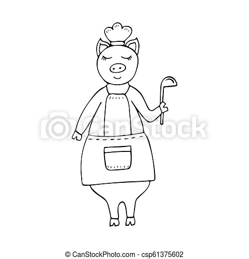 Vector monochrome hand-drawn funny pig chef wearing an apron and a ladle. - csp61375602