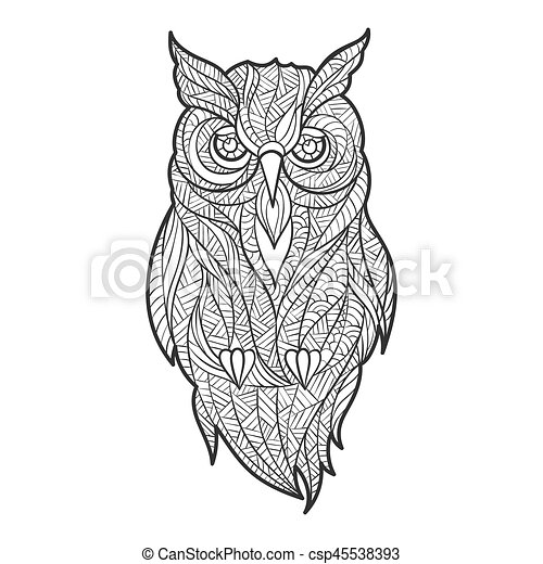 Vector Monochrome Hand Drawn Zentagle Illustration Of Owl Coloring Page With High Details Isolated On White Background Boho Style Design For T Shirt