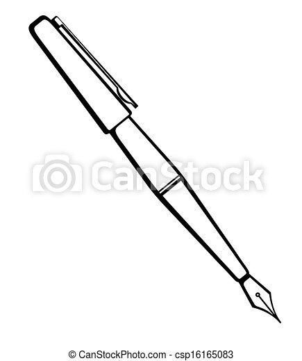 Vector monochrome illustration of ink pen logo. - csp16165083