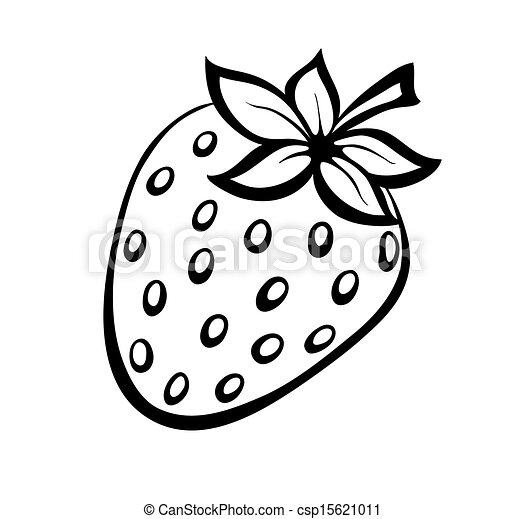 Vector monochrome illustration of strawberries logo. - csp15621011