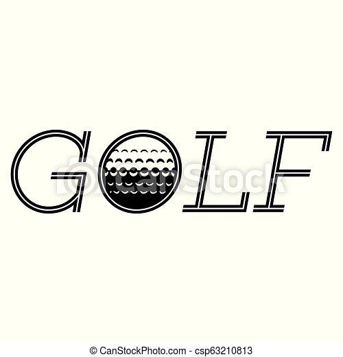 Vector monochrome inscription golf with a built-in ball - csp63210813