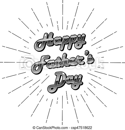 Vector monochrome stippled lettering happy father\'s day. template ...