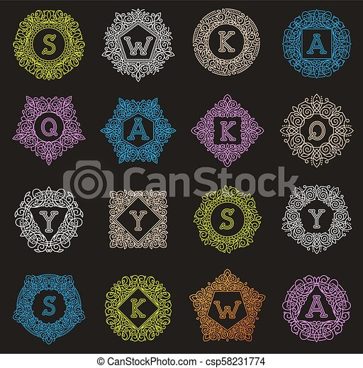 Vector monogram letter emblem vintage letters ornamental design sign floral elegant mono lable frame decorative personal name branding or wedding icon illustration - csp58231774