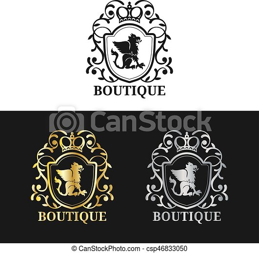 Vector monogram logo template luxury crown design graceful vintage vector monogram logo template luxury crown design graceful vintage griffin silhouettes illustration used for hotel restaurant boutique stopboris Gallery