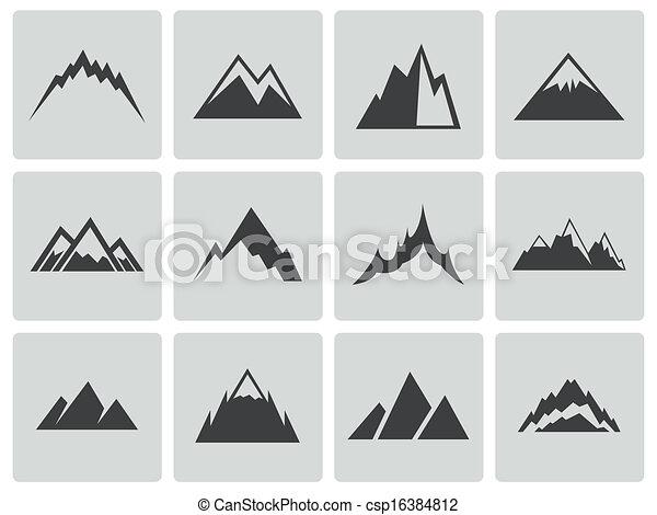 Los iconos de las montañas negras del vector están listos - csp16384812
