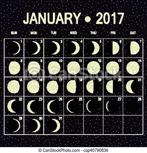 Vector Moon Phases Calendar For January 2017 Vector Moon Phases