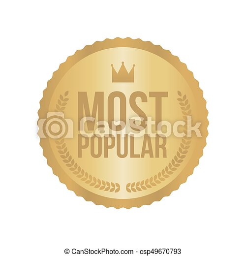 Vector Most Popular Gold Sign, Round Label - csp49670793