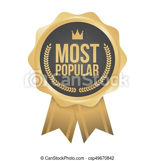 Vector Most Popular Gold Sign, Round Label - csp49670842