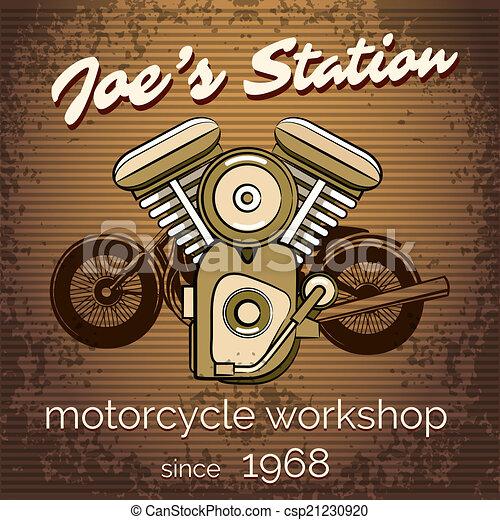 Vector Motorcycle Repair Shop Poster Vector Motorcycle Workshop