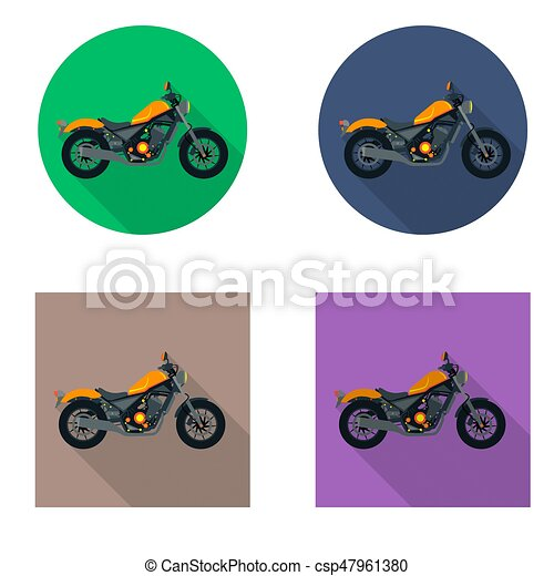 Vector motorcycles icon set in flat style. Vector illustrations with long shadow. - csp47961380