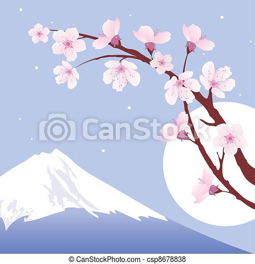 vector Mount Fuji, moon and branches of sakura (cherry) - csp8678838
