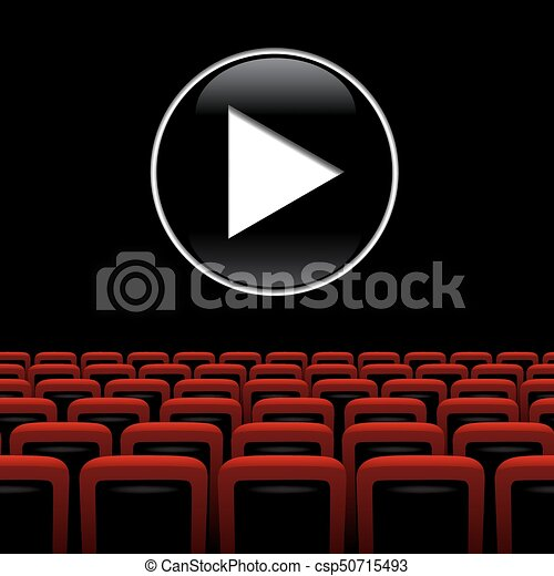 Vector Movie Theater Background With Red Chairs And Play Symbol Movie Theater Background With Red Chairs And Play Symbol