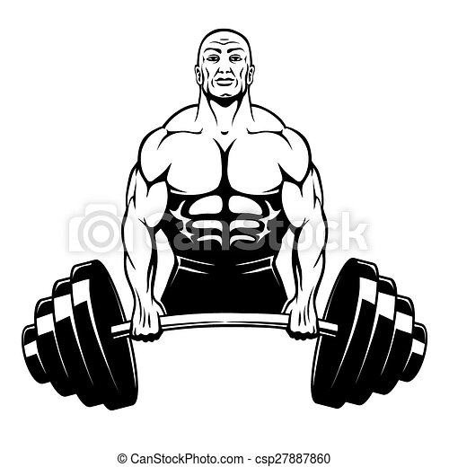 vector muscle man bodybuilder holding a large barbell with clip rh canstockphoto com muscle man clipart free Clip Art Man with Muscle Shirt