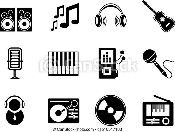 Vector Music Icons Set Of Black Music Electronic Icons Isolated On