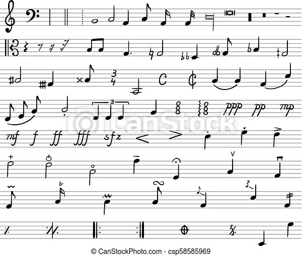 Vector Music Notes, Drawn Illustration, Musical Staff and Different Musical  Symbols