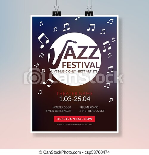 Vector Musical Flyer Jazz Festival Music Concert Poster  Vectors