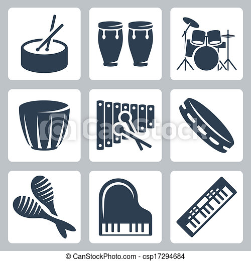 Vector musical istruments: drums and keyboards - csp17294684