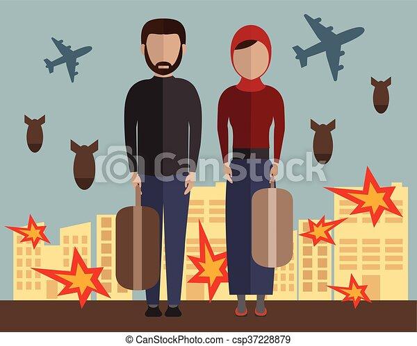 Familia refugiados. Gente musulmana. Inmigrantes. Marido y mujer. Guerra civil en Siria. Ilustración de vectores - csp37228879
