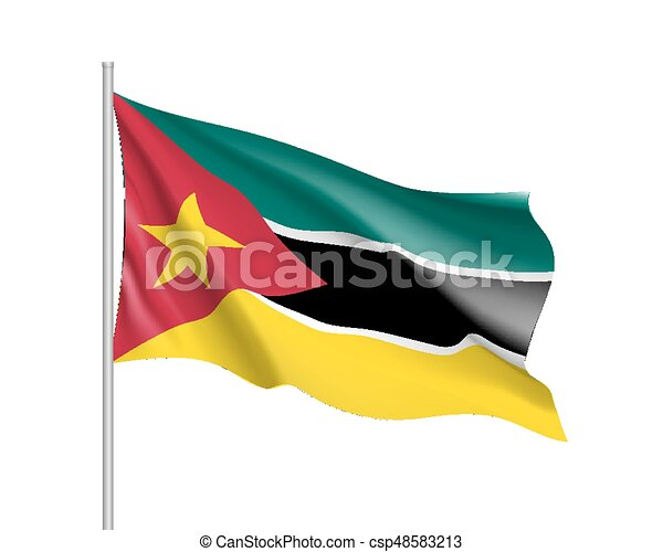 Vector National Flag Of Mozambique Waving Flag Of Mozambique