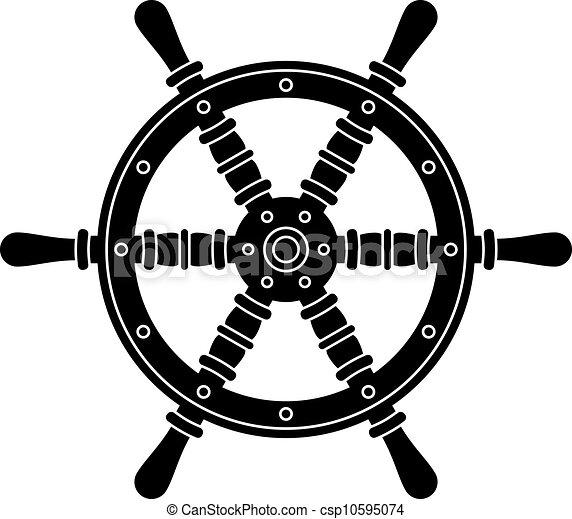 vector nautical boat steering wheel silhouette - csp10595074