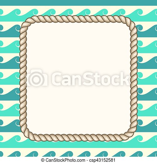 vector nautical ropes frame waves background - Nautical Picture Frame