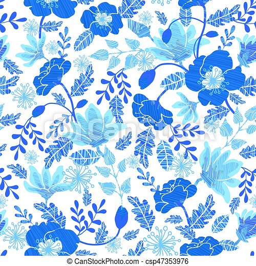 Vector Navy And Denim Blue Textured Spring Flowers Seamless Repeat Pattern Bacgkround Design Great For Springtime Greeting Cards Invitations Wedding