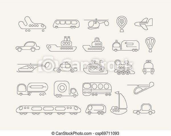 Iconos vectores de transporte neón - csp69711093