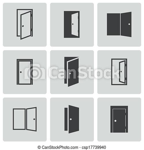iconos de puerta negra Vector listos - csp17739940