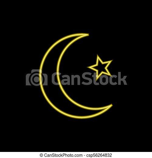 Vector Neon Islam Symbol Moon And Star Glowing Illustration