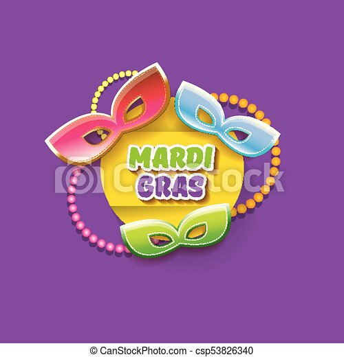 vector new orleans mardi gras vector background with carnival mask and text. vector mardi gras party or fat tuesday purple poster design template - csp53826340