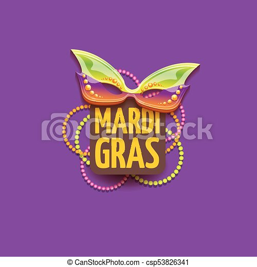 vector new orleans mardi gras vector background with carnival mask and text. vector mardi gras party or fat tuesday purple poster design template - csp53826341
