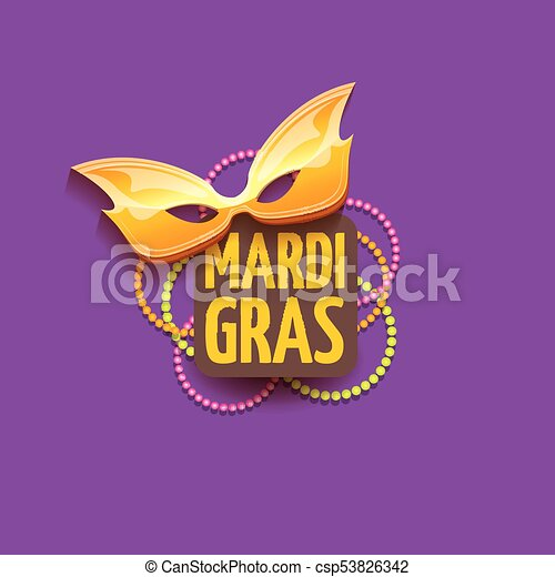 vector new orleans mardi gras vector background with carnival mask and text. vector mardi gras party or fat tuesday purple poster design template - csp53826342