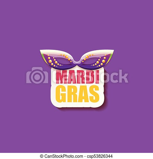vector new orleans mardi gras vector background with carnival mask and text. vector mardi gras party or fat tuesday purple poster design template - csp53826344