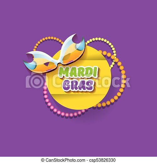 vector new orleans mardi gras vector background with carnival mask and text. vector mardi gras party or fat tuesday purple poster design template - csp53826330