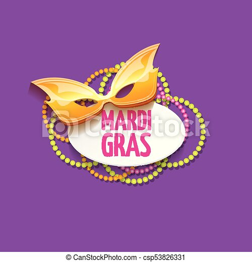 vector new orleans mardi gras vector background with carnival mask and text. vector mardi gras party or fat tuesday purple poster design template - csp53826331