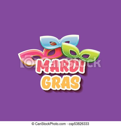 vector new orleans mardi gras vector background with carnival mask and text. vector mardi gras party or fat tuesday purple poster design template - csp53826333