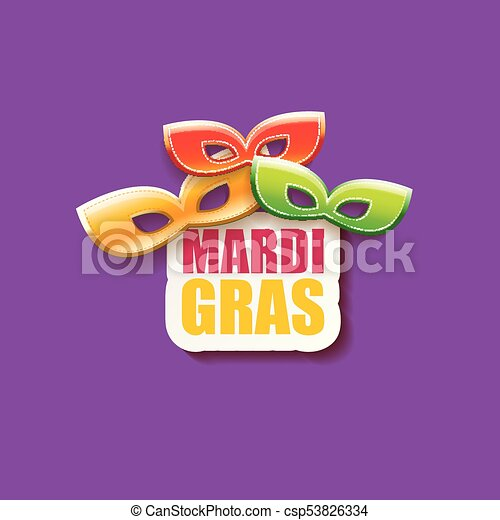 vector new orleans mardi gras vector background with carnival mask and text. vector mardi gras party or fat tuesday purple poster design template - csp53826334