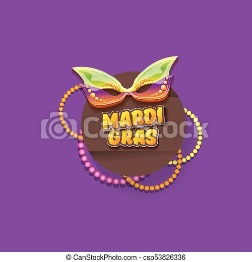 vector new orleans mardi gras vector background with carnival mask and text. vector mardi gras party or fat tuesday purple poster design template - csp53826336